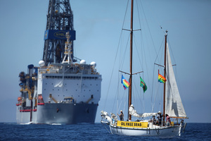 The Noble Bob Douglas drilling ship on the site where oil giant Anadarko intends to start drilling.