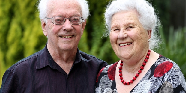 STILL GOING STRONG: Wim and Maria van der Linden made new lives in New Zealand and celebrated 60 years of marriage on Thursday. PHOTO/DUNCAN BROWN HBT140007-02