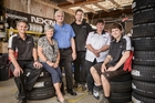 Anthony (left), Louella, Adrian, Alan, Kylie and Caleb Wright of Drury Tires. Photo / Ted Baghurst