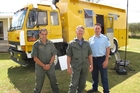 Deputy principal rural fire officer Clinton Lyall (left), principal rural fire officer Myles Taylor and Far North police Senior Sergeant Chris McLellan check out the new rural fire command and control unit. Photo/Peter de Graaf