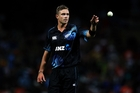 Tim Southee broke the 100-wicket ODI barrier against India on Wednesday at Seddon Park. Photo / Getty Images