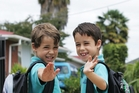 CAPTION: Twins Luke (left) and Boston Himiona, 7, will start back at primary school on Tuesday. PHOTO/RON BURGIN