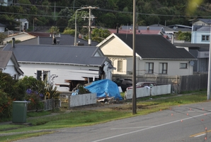 The house was significantly damaged by the impact. Photo / Greymouth Star