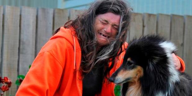 Housing NZ tenant Taina Goodwillie with her dog Bracken. Photo / Craig Baxter