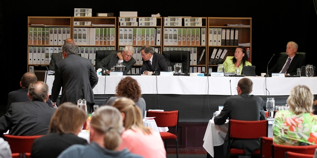UNDER CONSIDERATION: Last-minute agreements on some environmental issues were put before the Ruataniwha board of inquiry, which was sitting in Waipawa, at the end of its final hearing day on Tuesday. PHOTO/DUNCAN BROWN HBT140902-02