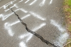 CRACKS SHOWING: Earthquake damage on the Pahiatua Pongaroa Rd. PHOTO/WARREN BUCKLAND HBT140332-4