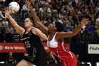The new Silver Ferns attacking line-up of Cathrine Latu, pictured, Jodi Brown and Camilla Lees worked their way into the win over England. Photo / Getty