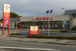 Oamaru New World in south Oamaru was open for business as usual after four staff were confronted by an armed burglar. Photo / David Bruce