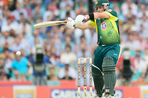 Aaron Finch of Australia bats during game three of the One Day International Series between Australia and England. Photo / Getty