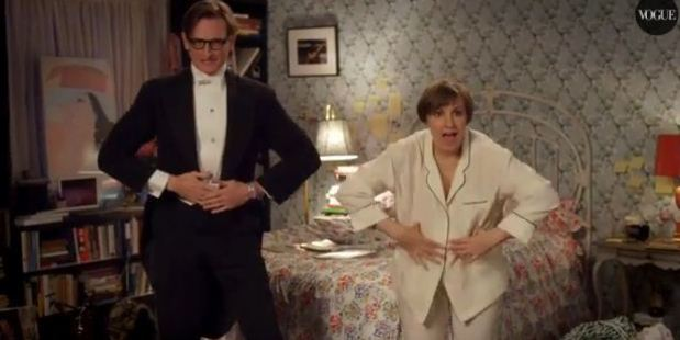 Hamish Bowles and Lena Dunham in the Vogue original short. Photo / Vogue, YouTube