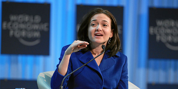 Facebook chief operating officer Sheryl Sandberg, seen here in a 2012 photo when she was co-Chair of the World Economic Forum's Annual Meeting. Photo / Wiki commons