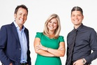 The new-look team from Seven Sharp: Mike Hosking, Toni Street and Jesse Mulligan.