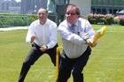 John Key and Murray McCully show off their cricketing skills at the UN in June during a visit.