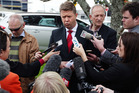 David Cunliffe resigns as leader of the Labour Party in a statement given to the media outside the Service and Food Workers Union headquarters in Auckland on the weekend. Photo / Doug Sherring