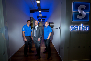 Serko co-founder and chief strategy officer Bob Shaw (left), chairman Simon Botherway and co-founder and chief executive Darrin Grafton - the company has been awarded a $4.2m grant -  NZH picture