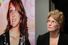 Lesley Elliott stands by a poster of her murdered daughter, Sophie Elliott. Photo / Sarah Ivey