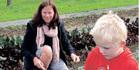 Kerikeri Kindegarten 4-year-old Liam Curtis and helper Ali Carnaby at work in the community garden