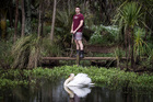 Brando Yelavich, who walked  New Zealand's entire coastline, back at work in his parents' garden. Photo / Michael Craig