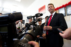 Former Labour Party leader David Cunliffe speaking at his New Lynn Electoral office today. Photo / Jason Oxenham.