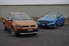 How they stack up: Volkswagen CrossPolo (orange), Mercedes-Benz GLA (blue).  Pictures / David Linklater