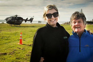 Kate Cushing (above, left) and Margaret Broad saved the life of an injured boatie in Waimarama yesterday. Photo / Warren Buckland