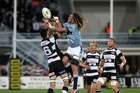 Taniwha captain on the day Dan Pryor fights for the ball against Hawke's Bay Magpies at Napier on October 17.