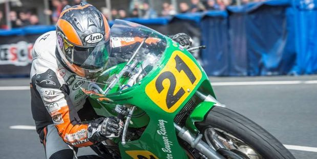 Maria Costello at the Isle of Man Classic TT, 2014, riding the Peter Beugger 500cc Paton. Photo / Supplied