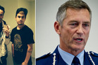 (From left) Roast Busters Joseph Parker and Beraiah Hales. Police Commissioner Mike Bush. Photo / Supplied, Sarah Ivey