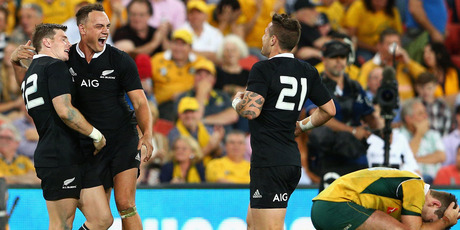 Colin Slade thinks the Wallabies are still a World Cup contender after his match-winning conversion. Photo / Getty