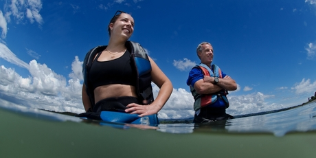 Bruce Jenkins and his daughter Rebecca rushed to help stranded whales yesterday. Photo / Stephen Parker
