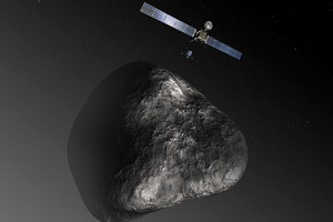 The Rosetta spacecraft and the Philae robotic landing craft above comet 67P/Churyumov-Gerasimenko.