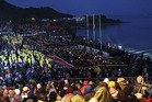 Crowds at gather at Gallipoli for the commemoration service on Anzac Day this year. Photo / Getty Images