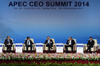 New Zealand's Prime Minister John Key, center, during a dialogue at the APEC CEO Summit at the China National Convention Centre (CNCC) in Beijing. Photo / AP