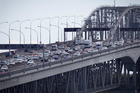 Traffic chaos on the Northern Motorway by St. Mary's Bay causes traffic on the harbour bridge to back up city bound. Photo / Natalie Slade