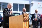 Whangarei RSA President D'Arcy Bailey speaks at the Armistice Day service at the Whangarei RSA. Photo / Michael Cunningham