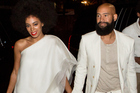 Musician Solange Knowles and music video director Alan Ferguson, arrive for their rehearsal dinner at the Felicity Street Methodist Church in New Orleans, Louisiana. Photo / Getty Images, Josh Brasted
