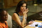 Teri Hatcher addresses the United Nations. Photo/Getty