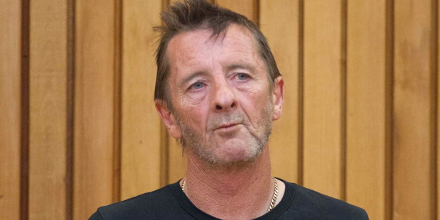 Phil Rudd in the High Court in Tauranga this morning. Photo / Alan Gibson