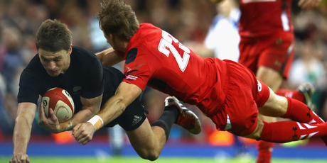 Beauden Barrett dives over to score for the All Blacks. Photo / Getty Images