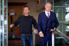 AC/DC drummer Phil Rudd leaving Tauranga District Court with his lawyer Craig Tuck. Photo/Andrew Warner.