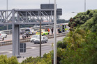 An incident on the Auckland Harbour Bridge North bound involving a motorcycle. Photo / Herald on Sunday / Jason Dorday