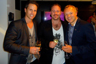 Tim Lightbourne , Rob Cameron and Graham Norton drinking Invivo Marlborough Sauvignon Blanc.