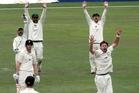 GOT 'IM: Bevan Small successfully appeals the wicket of Josh Brodie with wicketkeeper Kruger van Wyk, Kieran Noema-Barnett and Jamie How in chorus.