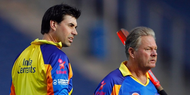 Stephen Fleming, left, has been tipped as a possible successor to Andy Flower on the back of his work in the IPL. Photo / Getty Images