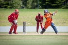 The Netherlands batsman Stephan Myburgh strikes the ball away during his innings of 36 against Canada at the Bay Oval. Photo/Andrew Warner