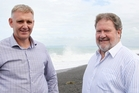 Napier City Council CEO Wayne Jack, left, and Mayor Bill Dalton say a wave park in Napier will be a tourism boon. Photo / Duncan Brown