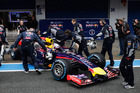 Daniel Ricciardo of Australia and Infiniti Red Bull Racing is pushed back into his team garage. Photo / Getty Images
