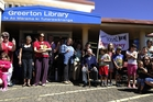 Dozens of supporters joined Tauranga Library Friends president Kate Clark at Greerton Library yesterday to fight for the future of the $3.4 million project. Photo/George Novak