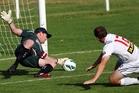 Richard Gillespie denies Jack McNab a goal.