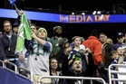 Seattle Seahawks fans cheer for their players during media day for the NFL Super Bowl. Photo / AP